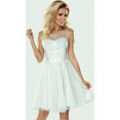Sukienka koronka i perełki tiffi. Szare sukienki balowe marki Jestes Modna, na lato, xs, w koronkowe wzory, z koronki, rozkloszowane. Za 319,00 zł.