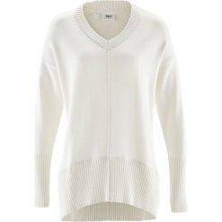 Swetry oversize damskie: Sweter oversize bonprix biel wełny
