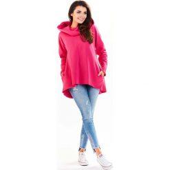 Różowa Bluza Asymetryczna z Kapturem. Czerwone bluzy z kapturem damskie marki KALENJI, z elastanu, z krótkim rękawem, krótkie. Za 129,90 zł.