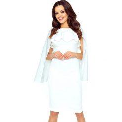 Ramona sukienka z baskinką i peleryną ecru. Szare sukienki hiszpanki Bergamo, z elastanu, z dekoltem na plecach, midi, baskinki. Za 249,99 zł.