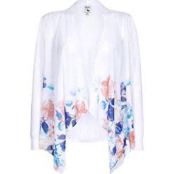 Kardigany damskie: Długi sweter z kwiatowym wzorem