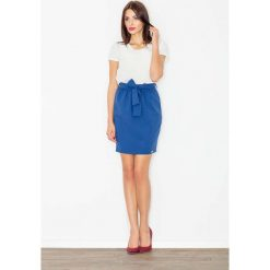 Spódniczki: Chabrowa Spódnica Krótka Ołówkowa z Wiązaną Szarfą