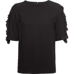 Bluzka bonprix czarny. Czarne bluzki z odkrytymi ramionami marki bonprix, z falbankami. Za 37,99 zł.