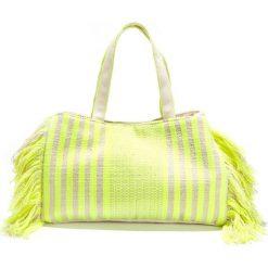 Shopper bag damskie: Torba z odblaskowymi paskami, frędzle