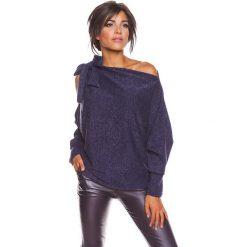 """Sweter """"Pia"""" w kolorze granatowym. Niebieskie swetry klasyczne damskie marki 100% Maille, s, z dekoltem w łódkę. W wyprzedaży za 129,95 zł."""