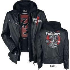 Foo Fighters EMP Signature Collection Kurtka skórzana czarny. Czarne kurtki męskie bomber Foo Fighters, l, z aplikacjami, ze skóry, z kapturem. Za 599,90 zł.