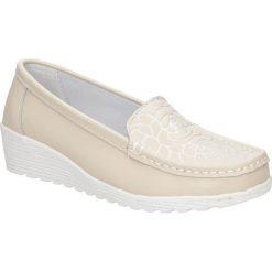 Półbuty skórzane na koturnie Lanqier 40C628. Szare buty ślubne damskie Lanqier, na koturnie. Za 99,99 zł.