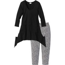 Piżamy damskie: Piżama ze spodniami 3/4 i shirtem z dłuższymi bokami bonprix czarny z nadrukiem