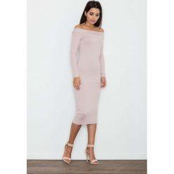 Sukienki: Różowa Ołówkowa Sukienka za Kolano z Szerokim Dekoltem