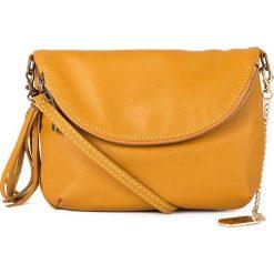 Torebki klasyczne damskie: Skórzana torebka w kolorze żółtym - 22 x 18 x 2 cm