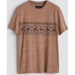 T-shirt z motywem zimowym - Brązowy. Brązowe t-shirty męskie Reserved, l. Za 39,99 zł.