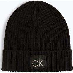 Calvin Klein - Czapka męska z dodatkiem kaszmiru, czarny. Czarne czapki męskie Calvin Klein, w prążki, z bawełny, klasyczne. Za 139,95 zł.