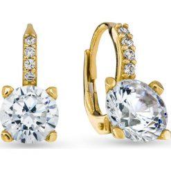 Kolczyki damskie: Piękne Złote Kolczyki – złoto żółte 585, Cyrkonia