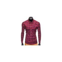 KOSZULA MĘSKA W KRATĘ Z DŁUGIM RĘKAWEM K406 - BORDOWA. Brązowe koszule męskie na spinki marki Ombre Clothing, m, z aplikacjami, z kontrastowym kołnierzykiem, z długim rękawem. Za 49,00 zł.