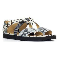 Sandały damskie: Skórzane sandały w kolorze biało-szaro-czarnym