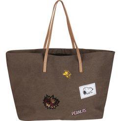 """Shopper bag damskie: Shopper bag """"Peanuts"""" w kolorze brązowym ze wzorem – 54 x 34 x 18 cm"""