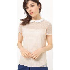Bluzki damskie: Koszulka z koronki z kołnierzykiem wykończonym perełkami