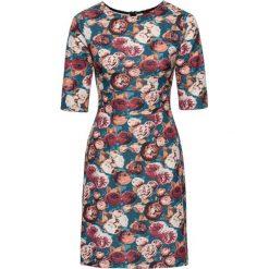 Sukienka ze sztywnego dżerseju bonprix niebieskozielony w kwiaty. Szare sukienki z falbanami marki bonprix, w kwiaty, z dżerseju. Za 49,99 zł.