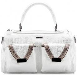 Torebka w kolorze białym - (S)32 x (W)19 x (G)9 cm. Białe torebki klasyczne damskie Wittchen, w paski, ze skóry ekologicznej. W wyprzedaży za 139,95 zł.