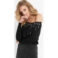 Luźny sweter z kryształkami. Czarne swetry klasyczne damskie marki Orsay, xs, z dzianiny. Za 99,99 zł.