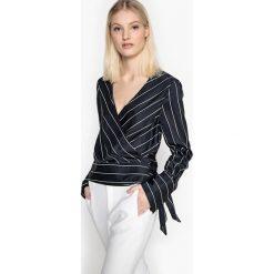 Bluzki damskie: Bluzka, fason kopertowy, w paski, z długim rękawem