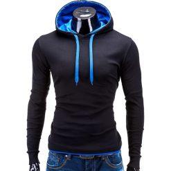 BLUZA MĘSKA Z KAPTUREM CAMILO - CZARNO-NIEBIESKA. Czarne bluzy męskie rozpinane Ombre Clothing, m, z bawełny, z kapturem. Za 49,00 zł.