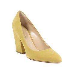 Buty ślubne damskie: Skórzane czółenka w kolorze żółtym