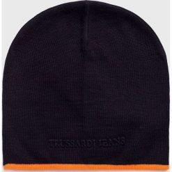 Trussardi Jeans - Czapka. Czarne czapki zimowe męskie Trussardi Jeans, na zimę, z dzianiny. Za 169,90 zł.