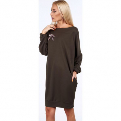 Khaki sukienka oversize 1969. Brązowe sukienki Fasardi, l, oversize. Za 69,00 zł.