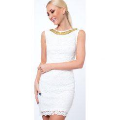 Sukienka koronkowa krótka kremowa G5283. Białe sukienki Fasardi, l, z koronki, z krótkim rękawem, mini. Za 89,00 zł.