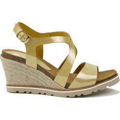 Rzymianki damskie: Skórzane sandały w kolorze żółtym