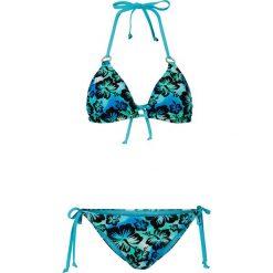 Bikini z trójkątnymi miseczkami bonprix niebieski wzorzysty. Niebieskie bikini bonprix. Za 74,99 zł.