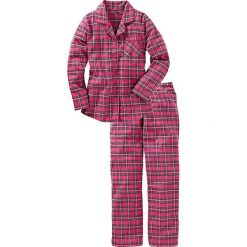 Piżama flanelowa bonprix różowy w kratę. Czerwone piżamy damskie bonprix. Za 89,99 zł.