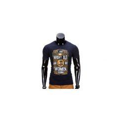 T-shirty męskie z nadrukiem: T-SHIRT MĘSKI Z NADRUKIEM S839 – GRANATOWY