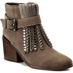 Botki ALMA EN PENA - I17144  Crosta Stone. Brązowe buty zimowe damskie Alma en Pena, z materiału, na obcasie. W wyprzedaży za 329,00 zł.