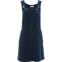 Sukienka ogrodniczka sztruksowa bonprix ciemnoniebieski. Niebieskie sukienki marki bonprix, ze sztruksu. Za 149,99 zł.
