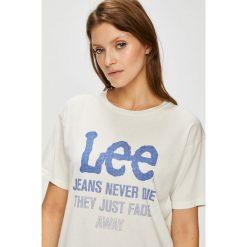 Lee - Top. Szare topy damskie marki Lee, l, z nadrukiem, z bawełny, z okrągłym kołnierzem. Za 119,90 zł.