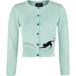 Swetry damskie: Collectif Clothing Jessie Kitty Cat Cardigan Kardigan damski zielony (Mint)