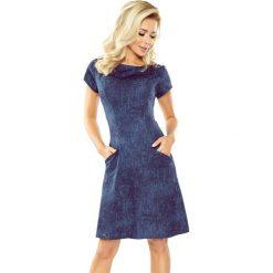 Granatowa Sukienka Trapezowa z Wsuwanymi Kieszeniami. Niebieskie sukienki mini marki Molly.pl, do pracy, l, z jeansu, biznesowe, z krótkim rękawem, trapezowe. Za 149,90 zł.