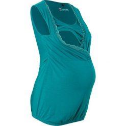 Top ciążowy i do karmienia piersią bonprix kobaltowo-turkusowy. Zielone bluzki ciążowe marki bonprix, w kropki, z kopertowym dekoltem, kopertowe. Za 29,99 zł.