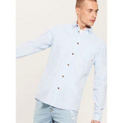 Koszula z domieszką lnu - Niebieski. Szare koszule męskie marki House, l, z bawełny. Za 89,99 zł.