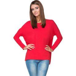 Bluzy damskie: Czerwona Bluza z Dłuższym Tyłem