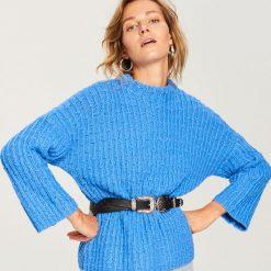 Dzianinowy sweter z ozdobnym splotem - Niebieski. Białe swetry klasyczne damskie marki Reserved, l, z dzianiny. Za 139,99 zł.