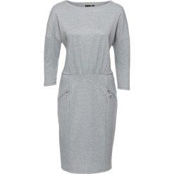 Sukienka bonprix szary melanż. Szare sukienki na komunię marki bonprix, melanż, z dekoltem w łódkę. Za 54,99 zł.