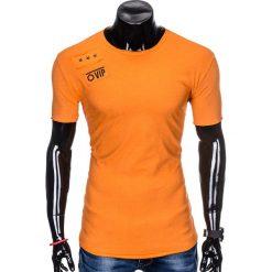 T-SHIRT MĘSKI Z NADRUKIEM S957 - POMARAŃCZOWY. Brązowe t-shirty męskie z nadrukiem Ombre Clothing, m. Za 29,00 zł.