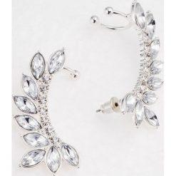 Kolczyki damskie: Kolczyki na uszy (2 części) bonprix srebrny kolor – biał