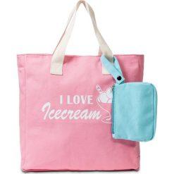 Shopper bag damskie: Torba shopper z nadrukiem i torebką bonprix różowy