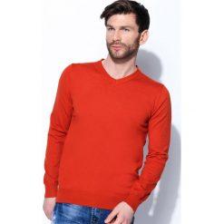 Swetry klasyczne męskie: Pomarańczowy Sweter Real Life