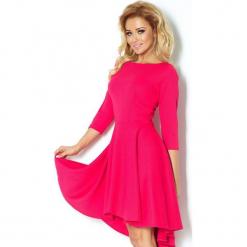 90-2 sukienka z rękawkiem 3/4 i dłuższym tyłem - malina. Różowe sukienki na komunię marki numoco, l. Za 144,00 zł.
