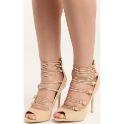 Beżowe Szpilki Batani. Brązowe sandały damskie marki Born2be, ze skóry, na wysokim obcasie, na stożku. Za 69,99 zł.